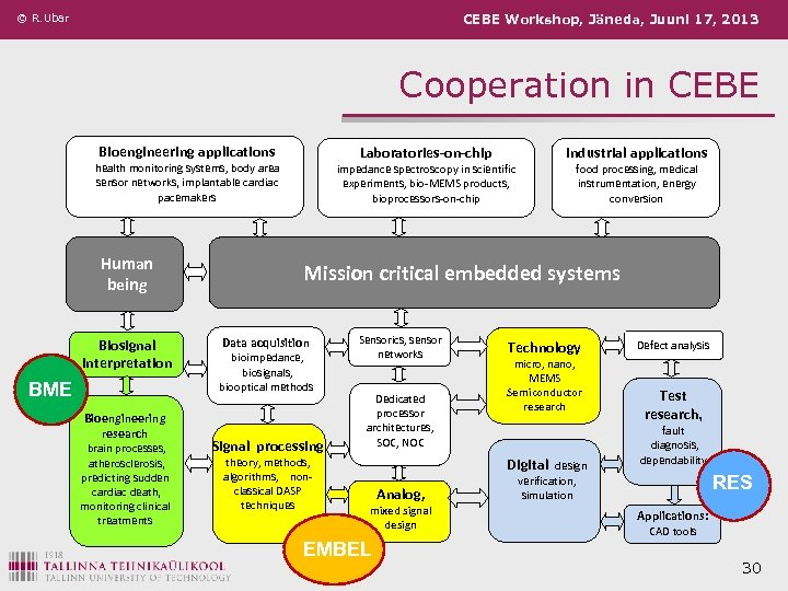 © R. Ubar CEBE Workshop, Jäneda, Juuni 17, 2013 Cooperation in CEBE Bioengineering applications