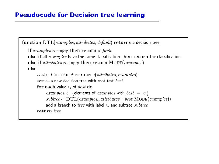 Pseudocode for Decision tree learning