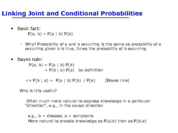 Linking Joint and Conditional Probabilities • Basic fact: P(a, b) = P(a | b)