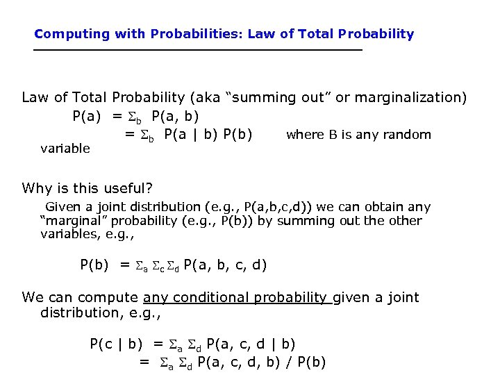 "Computing with Probabilities: Law of Total Probability (aka ""summing out"" or marginalization) P(a) ="