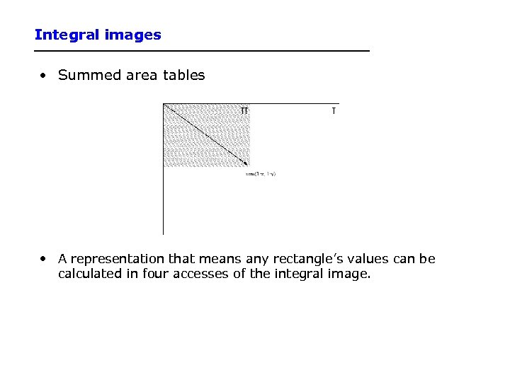 Integral images • Summed area tables • A representation that means any rectangle's values