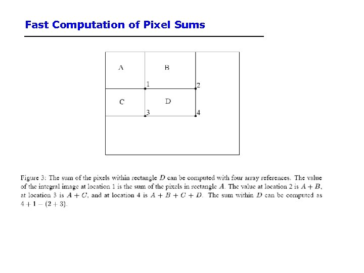 Fast Computation of Pixel Sums