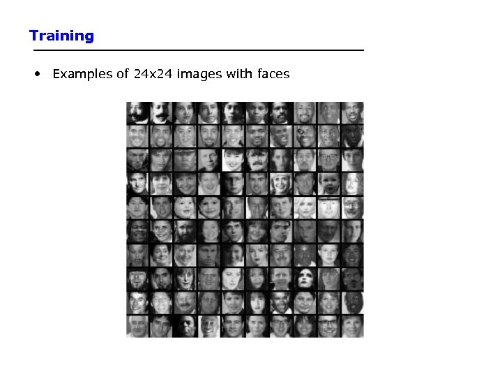 Training • Examples of 24 x 24 images with faces