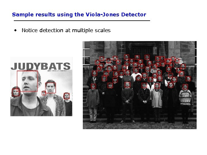 Sample results using the Viola-Jones Detector • Notice detection at multiple scales