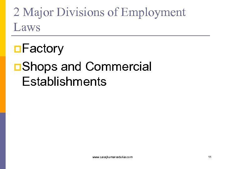 2 Major Divisions of Employment Laws p. Factory p. Shops and Commercial Establishments www.