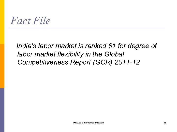 Fact File India's labor market is ranked 81 for degree of labor market flexibility