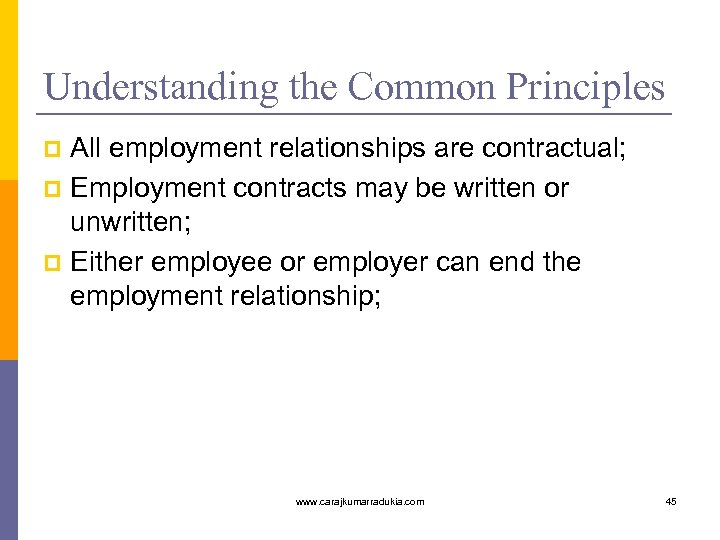 Understanding the Common Principles All employment relationships are contractual; p Employment contracts may be