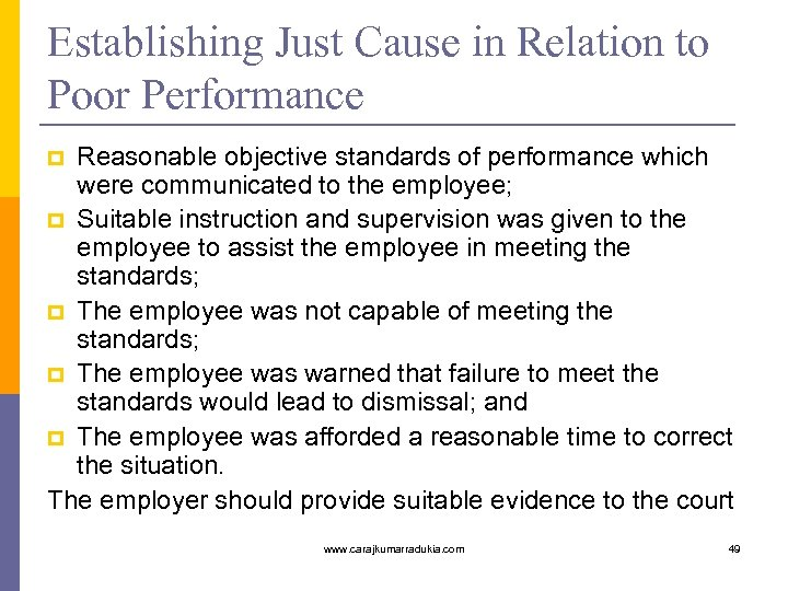 Establishing Just Cause in Relation to Poor Performance Reasonable objective standards of performance which