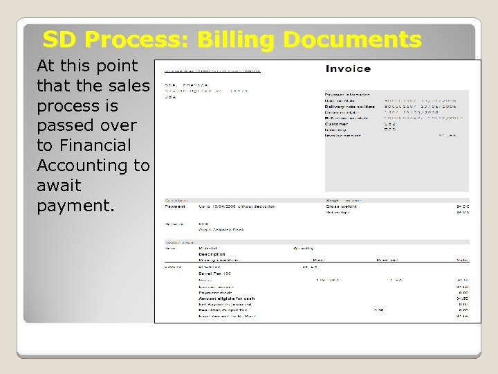 SD Process: Billing Documents At this point that the sales process is passed over
