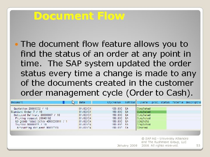 Document Flow The document flow feature allows you to find the status of an