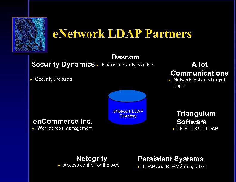 e. Network LDAP Partners Security Dynamics Dascom l Security products l l en. Commerce