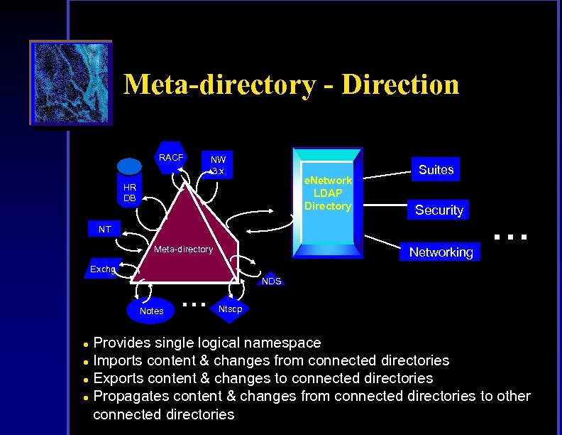 Meta-directory - Direction RACF NW 3. x e. Network LDAP Directory HR DB Suites