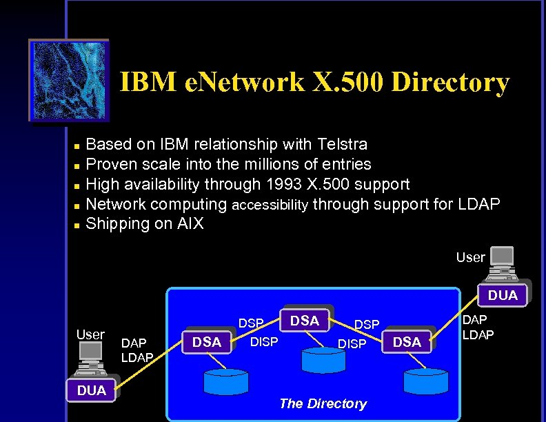 IBM e. Network X. 500 Directory n n n Based on IBM relationship with