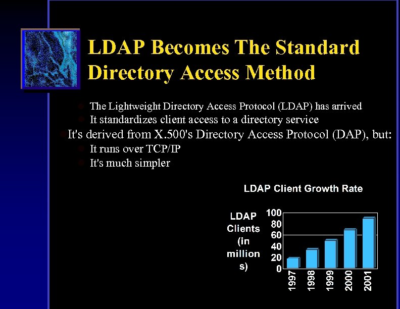 LDAP Becomes The Standard Directory Access Method l The Lightweight Directory Access Protocol (LDAP)