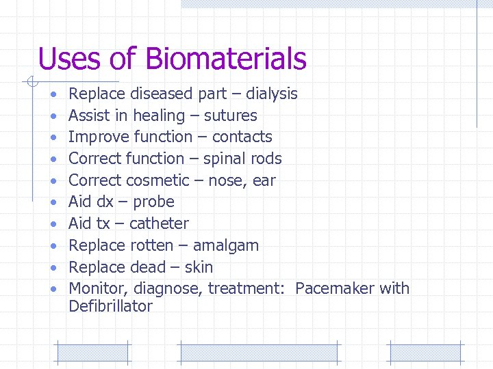 Uses of Biomaterials • • • Replace diseased part – dialysis Assist in healing