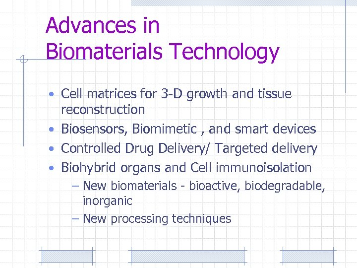 Advances in Biomaterials Technology • Cell matrices for 3 -D growth and tissue reconstruction