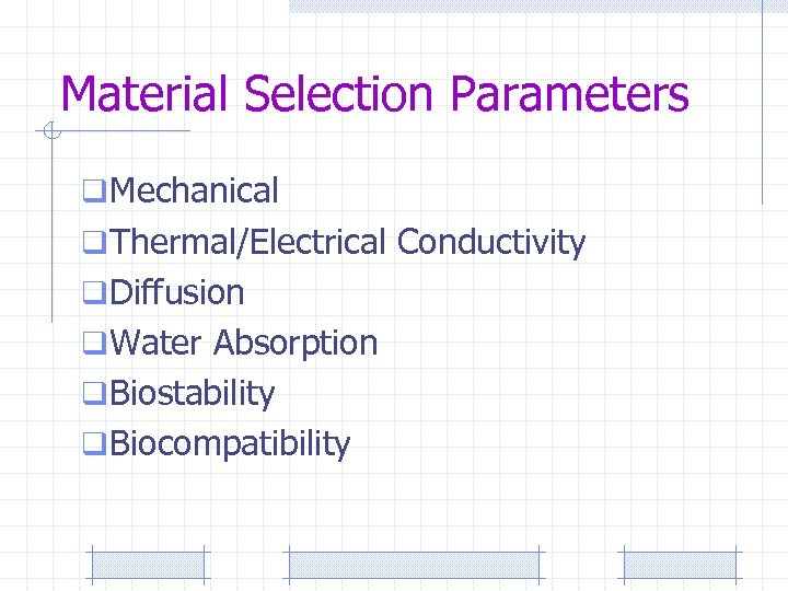 Material Selection Parameters q Mechanical q Thermal/Electrical Conductivity q Diffusion q Water Absorption q