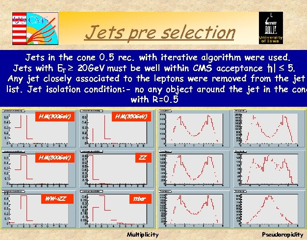 Jets pre selection Jets in the cone 0. 5 rec. with iterative algorithm were