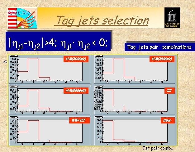 Tag jets selection %   j 1 - j 2 >4; j 1· j 2