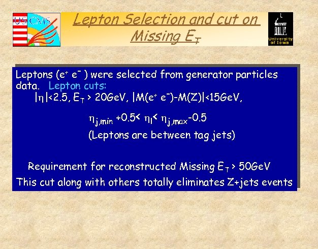 Lepton Selection and cut on Missing ET Leptons (e+ e- ) were selected from