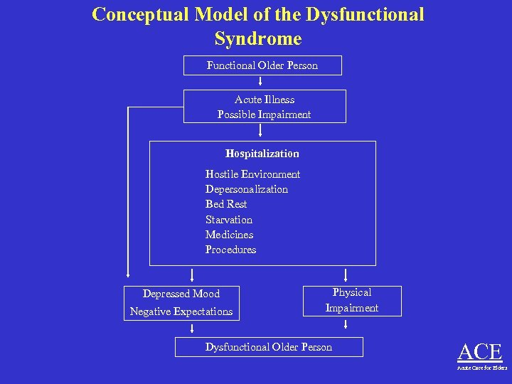 Conceptual Model of the Dysfunctional Syndrome Functional Older Person Acute Illness Possible Impairment Hospitalization