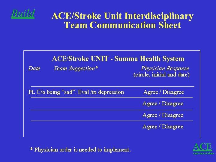 Build ACE/Stroke Unit Interdisciplinary Team Communication Sheet ACE/Stroke UNIT - Summa Health System Date