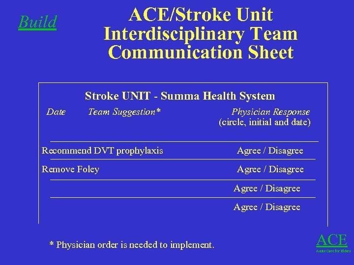 Build ACE/Stroke Unit Interdisciplinary Team Communication Sheet Stroke UNIT - Summa Health System Date