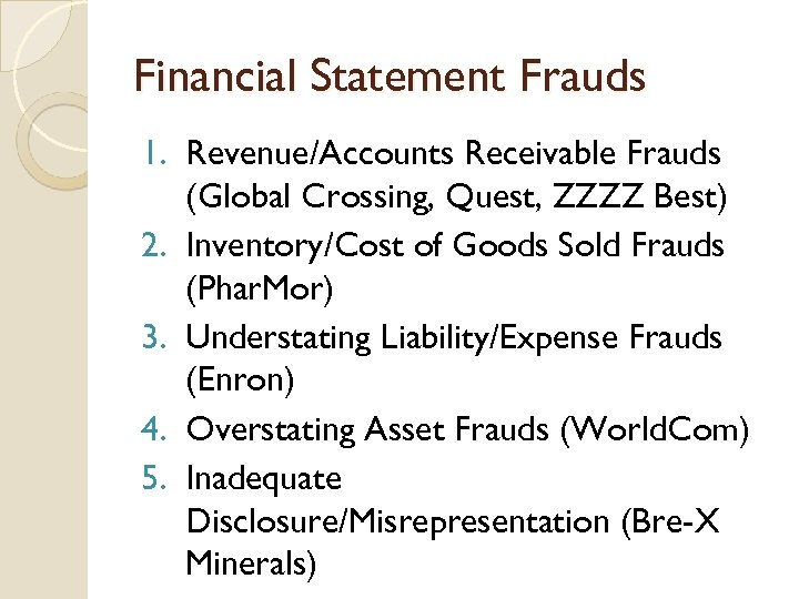 Financial Statement Frauds 1. Revenue/Accounts Receivable Frauds (Global Crossing, Quest, ZZZZ Best) 2. Inventory/Cost
