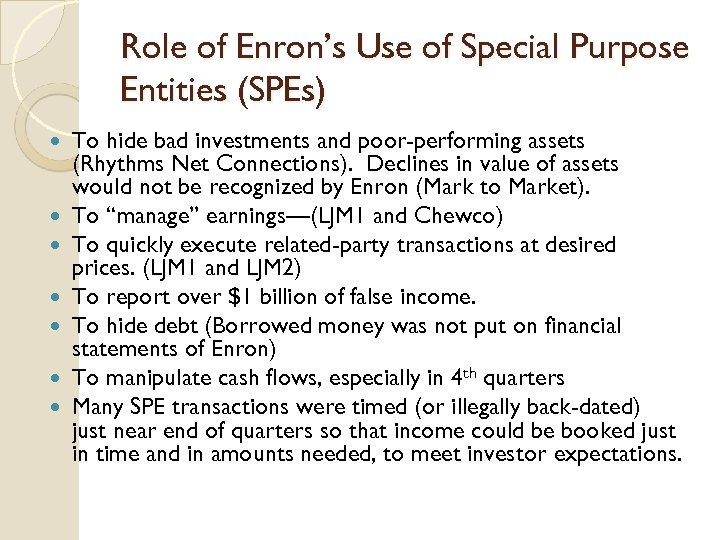 Role of Enron's Use of Special Purpose Entities (SPEs) To hide bad investments and