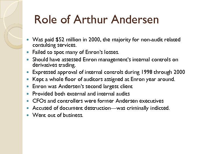 Role of Arthur Andersen Was paid $52 million in 2000, the majority for non-audit