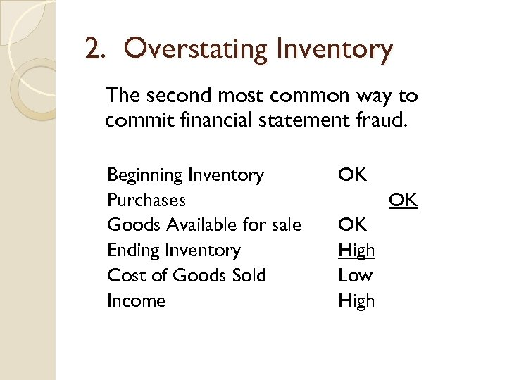 2. Overstating Inventory The second most common way to commit financial statement fraud. Beginning