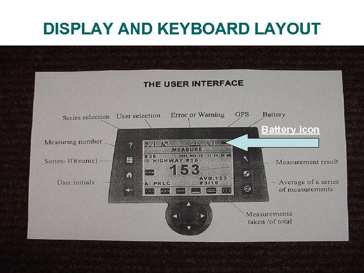 DISPLAY AND KEYBOARD LAYOUT Battery icon