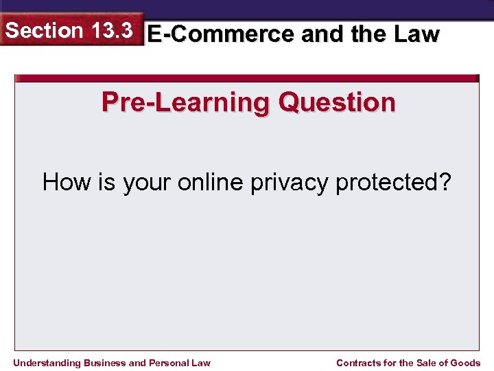 Section 13. 3 E-Commerce and the Law Pre-Learning Question How is your online privacy