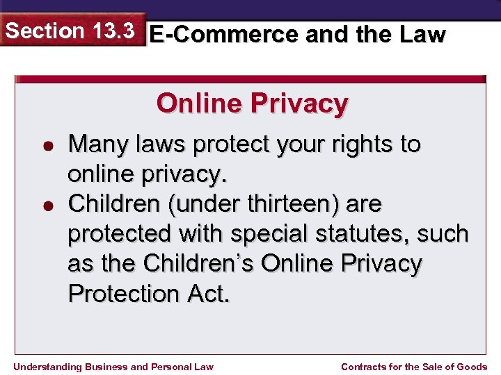 Section 13. 3 E-Commerce and the Law Online Privacy Many laws protect your rights