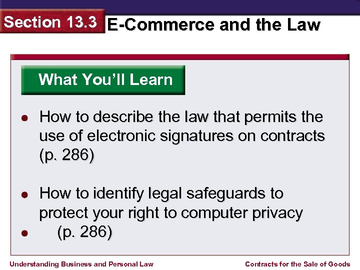Section 13. 3 E-Commerce and the Law What You'll Learn How to describe the