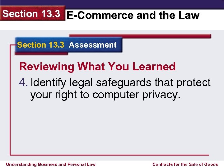 Section 13. 3 E-Commerce and the Law Section 13. 3 Assessment Reviewing What You
