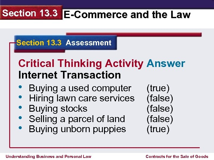 Section 13. 3 E-Commerce and the Law Section 13. 3 Assessment Critical Thinking Activity