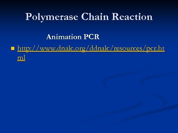 Polymerase Chain Reaction Animation PCR n http: //www. dnalc. org/ddnalc/resources/pcr. ht ml