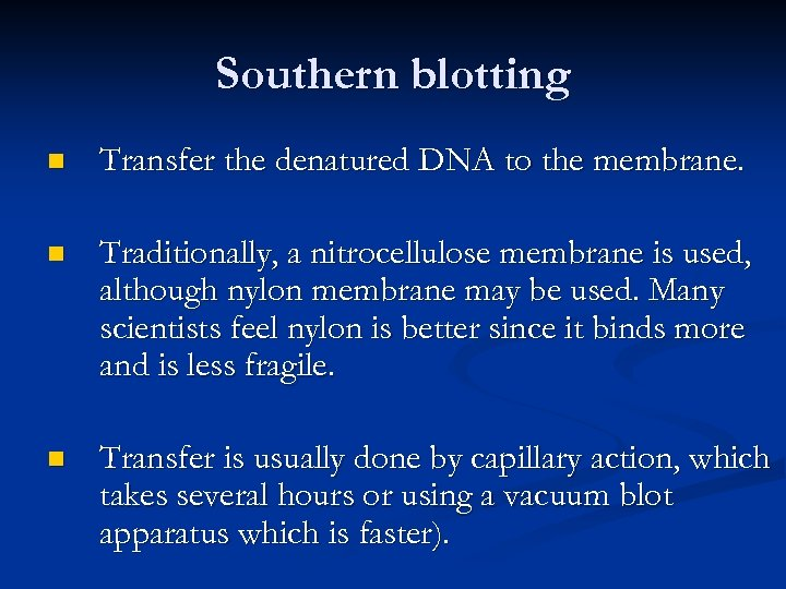 Southern blotting n Transfer the denatured DNA to the membrane. n Traditionally, a nitrocellulose