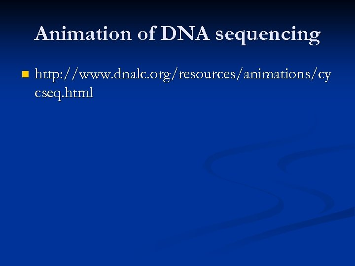 Animation of DNA sequencing n http: //www. dnalc. org/resources/animations/cy cseq. html