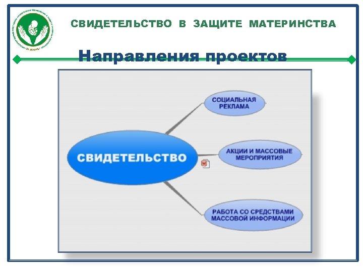 СВИДЕТЕЛЬСТВО В ЗАЩИТЕ МАТЕРИНСТВА Направления проектов