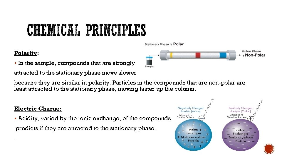Polarity: § In the sample, compounds that are strongly attracted to the stationary phase