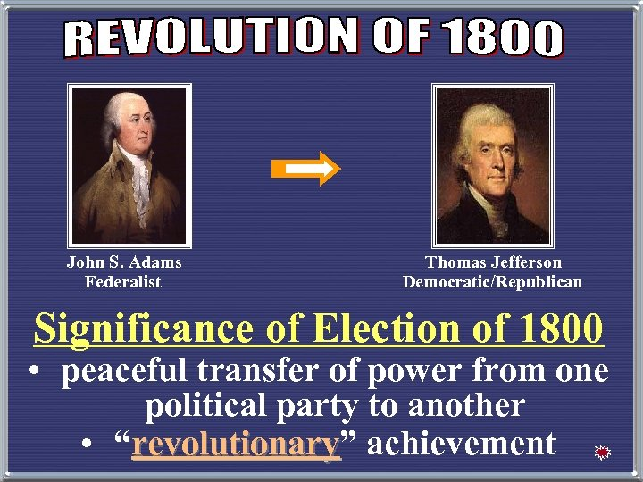 John S. Adams Federalist Thomas Jefferson Democratic/Republican Significance of Election of 1800 • peaceful