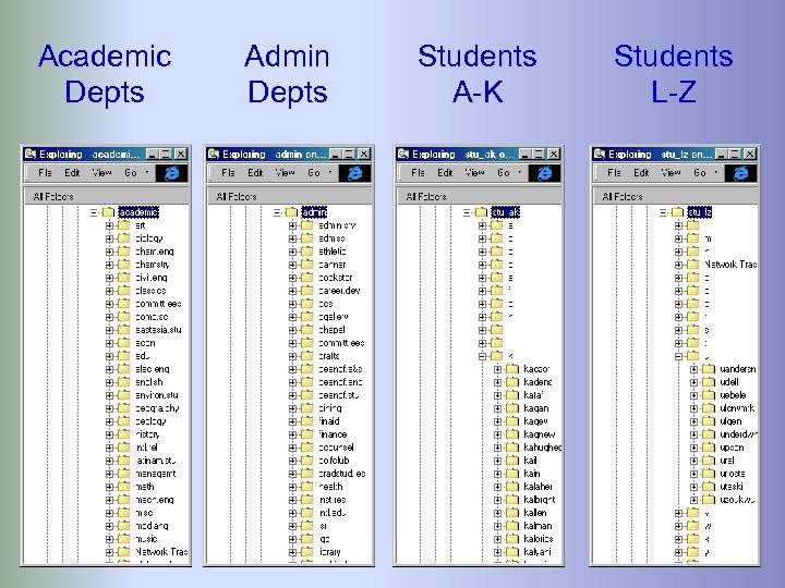 Academic Depts Admin Depts Students A-K Students L-Z