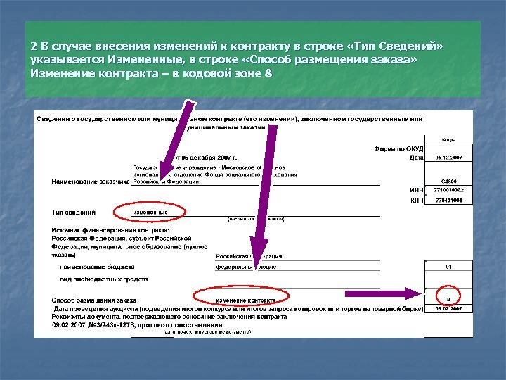 2 В случае внесения изменений к контракту в строке «Тип Сведений» указывается Измененные, в