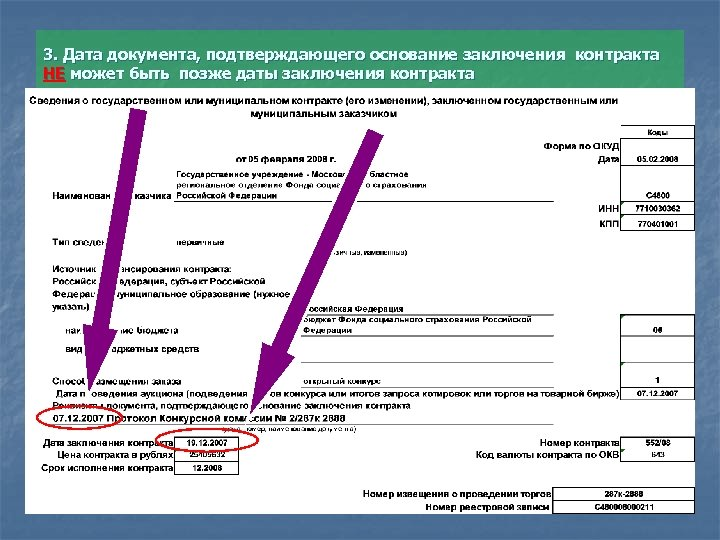 3. Дата документа, подтверждающего основание заключения контракта НЕ может быть позже даты заключения контракта