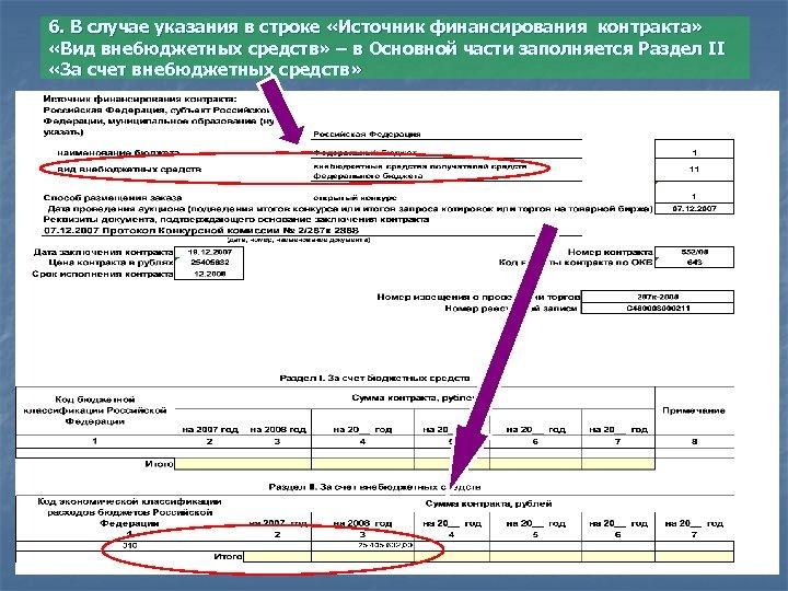 6. В случае указания в строке «Источник финансирования контракта» «Вид внебюджетных средств» – в