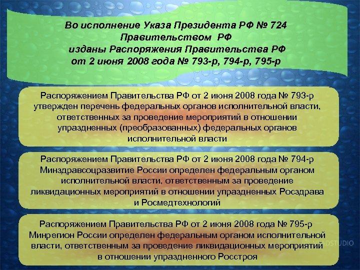 Во исполнение Указа Президента РФ № 724 Правительством РФ изданы Распоряжения Правительства РФ от
