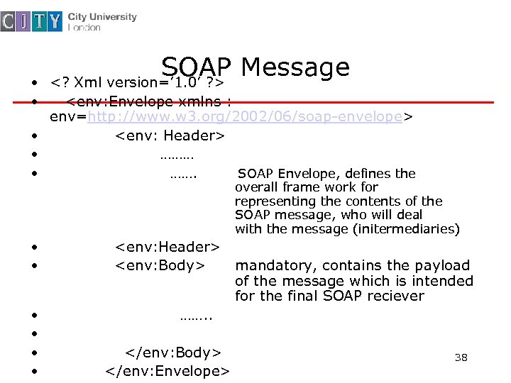 SOAP Message <? Xml version=' 1. 0' ? > • • <env: Envelope xmlns