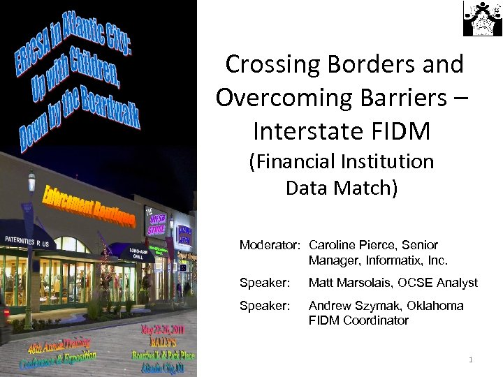 Crossing Borders and Overcoming Barriers – Interstate FIDM (Financial Institution Data Match) Moderator: Caroline